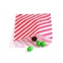 25 sacs en papier à rayures -  rouge