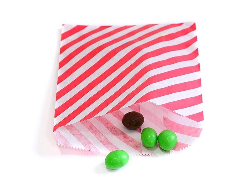 25 sacs en papier à rayures -  rouge  - 1