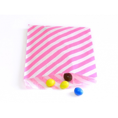 25 striped paper bags - bright pink