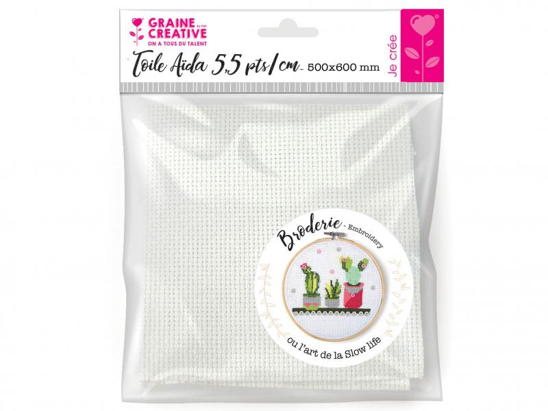 Acheter Toila Aïda 5.5 pts/cm - Blanc 50 x 60 cm - 7,90€ en ligne sur La Petite Epicerie - Loisirs créatifs