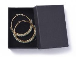 Acheter Paire de boucles d'oreilles créoles avec petites perles en apatite naturel - acier inoxydable doré - 50 mm - 13,99€ ...