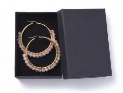 Acheter Paire de boucles d'oreilles créoles avec petites perles en quartz rose naturel - acier inoxydable doré - 50 mm - 13,9...