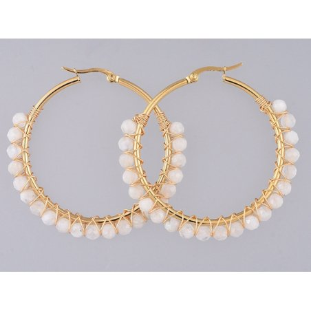 Acheter Paire de boucles d'oreilles créoles avec petites perles en pierre de lune - acier inoxydable doré - 50 mm - 13,99€ e...