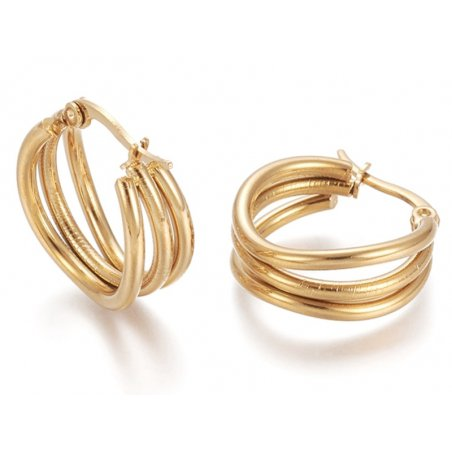 Acheter Paire de boucles d'oreilles créoles multi fils - en acier inoxydable doré- 20 mm - 6,49€ en ligne sur La Petite Epic...
