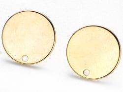 Acheter Paire de boucles d'oreilles puces 18K - doré à l'or fin - 15 mm - 6,39€ en ligne sur La Petite Epicerie - Loisirs cr...