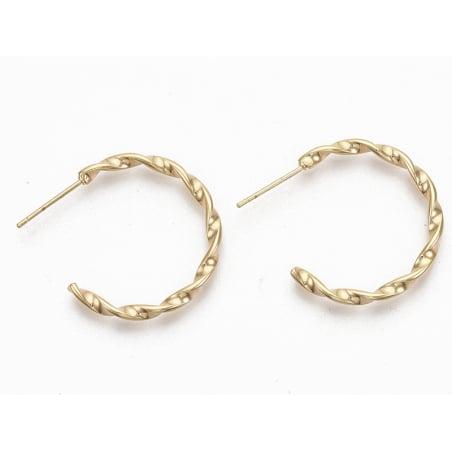Acheter Paire boucle d'oreilles créoles fine torsade - doré à l'or fin 18K - 25 mm - 6,49€ en ligne sur La Petite Epicerie -...