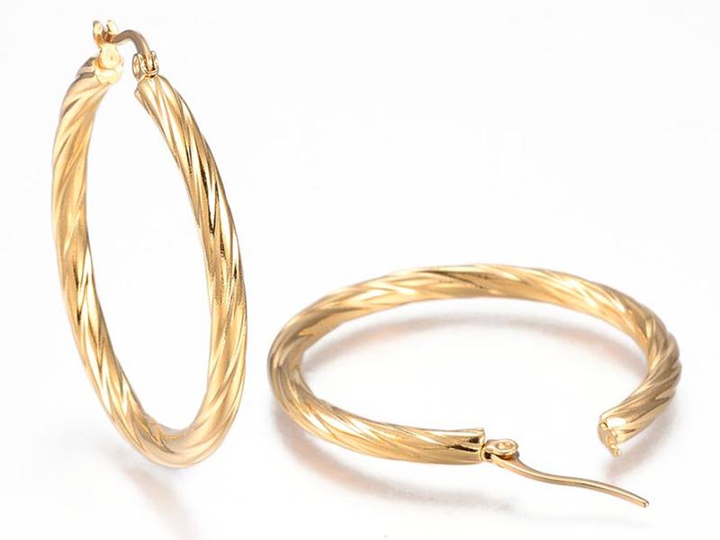 Acheter Paire boucle d'oreilles créoles torsadée - en acier inoxydable doré - 42 mm - 7,99€ en ligne sur La Petite Epicerie ...