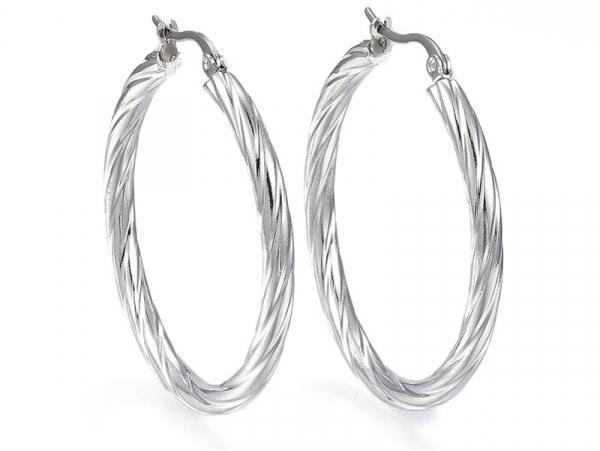 Acheter Paire boucle d'oreilles créoles torsadée - en acier inoxydable argenté - 42 mm - 2,79€ en ligne sur La Petite Epicer...