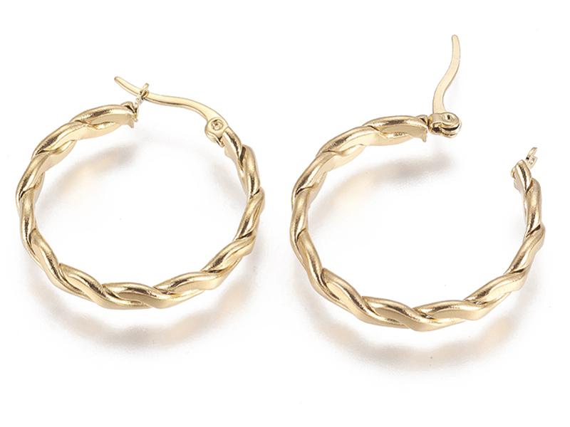 Acheter Paire boucle d'oreilles créoles torsade plate - en acier inoxydable 304 - 31 mm - 5,79€ en ligne sur La Petite Epice...