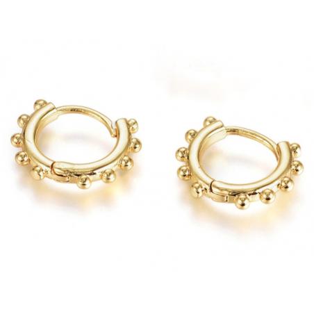 Acheter Paire boucle d'oreilles créoles boules huggie - doré à l'or fin 18K - 16 mm - 7,49€ en ligne sur La Petite Epicerie ...