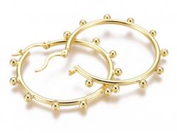 Acheter Paire boucle d'oreilles créoles boules - doré à l'or fin 18K - 40 mm - 9,99€ en ligne sur La Petite Epicerie - Loisi...