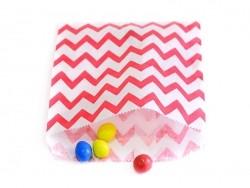 25 sacs en papier - zigzag rouge