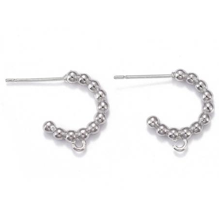 Acheter Paire boucle d'oreilles créoles petites boules - flash platine - 17 mm - 5,49€ en ligne sur La Petite Epicerie - Loi...