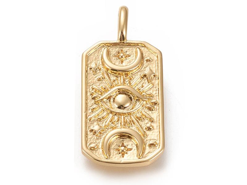 Acheter Pendentif rectangle avec œil - laiton doré à l'or fin - 26 x 12 mm - 3,89€ en ligne sur La Petite Epicerie - Loisirs...