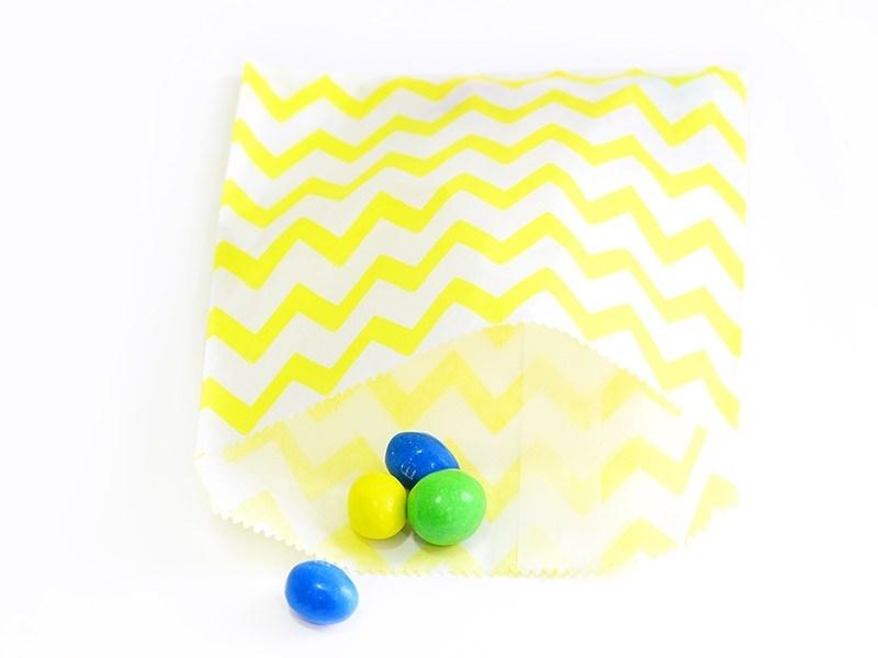 25 sacs en papier - zigzag jaune  - 1