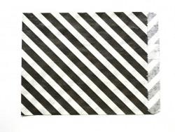 25 sacs en papier à rayures - noir