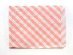 25 Papiertüten mit Streifen - pastellrosa