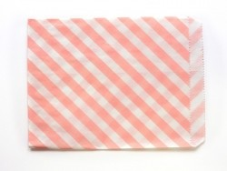 25 striped paper bags - pastel pink