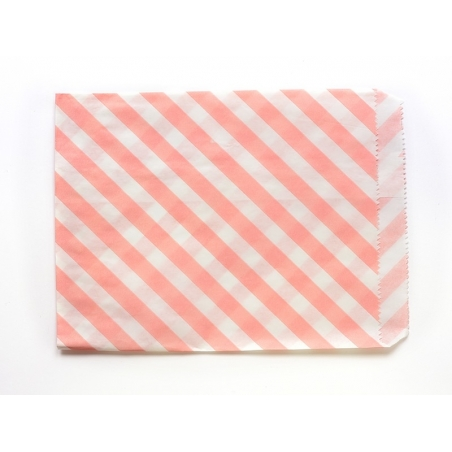 25 sacs en papier à rayures -  rose pastel  - 2