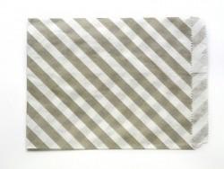 25 Papiertüten mit Streifen - grau
