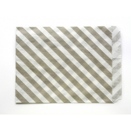 25 striped paper bags - grey