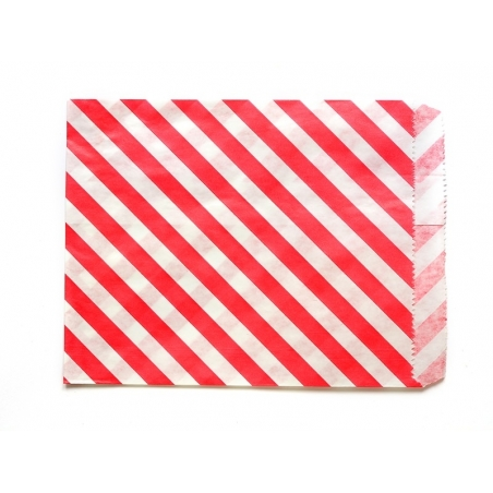 25 striped paper bags - red