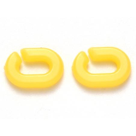 Acheter 50 mini maillons en plastique 9 x 6 mm - à connecter pour création de chaîne - jaune vif - 1,99€ en ligne sur La Pet...