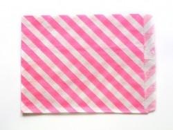25 Papiertüten mit Streifen - leuchtendes Pink