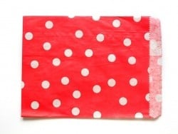 25 paper bags - red with white polka dots