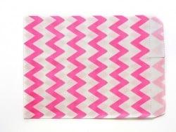 25 sacs en papier - zigzag rose fushia