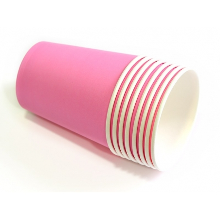 8 paper cups - candy pink