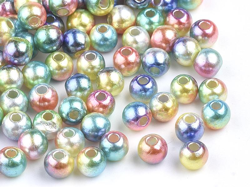 Acheter 100 perles en plastique rondes imitation perles de culture - 6 mm - mix de perles dégradé - 1,99€ en ligne sur La Pe...
