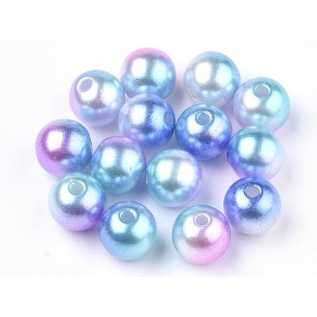Acheter 100 perles en plastique rondes imitation perles de culture - 6 mm - dégradé bleu et violet - 1,99€ en ligne sur La P...