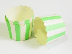 24 Caissettes à cupcake - rayures blanc et vert