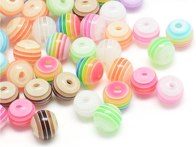 Acheter 100 perles en plastique rondes 6 mm - rayures - 4,99€ en ligne sur La Petite Epicerie - Loisirs créatifs
