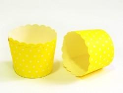 24 Caissettes à cupcake - jaune à pois blanc