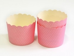 24 cupcake cases - pink with white polka dots