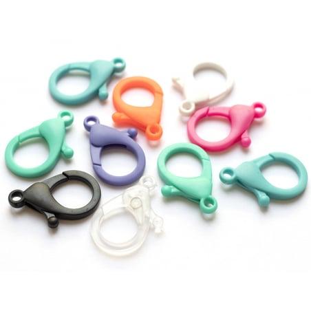 Acheter 10 fermoirs mousqueton en plastique - 35 x 24 mm - mix multicolore - 2,99€ en ligne sur La Petite Epicerie - Loisirs...