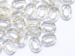Acheter 50 maillons ovales en plastique 19 x 14 mm - à connecter pour création de chaîne - transparent à paillettes - 3,69€ ...