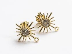 Acheter Paire de boucles d'oreilles soleil - doré à l'or fin 18K - 14 mm - 6,99€ en ligne sur La Petite Epicerie - Loisirs c...