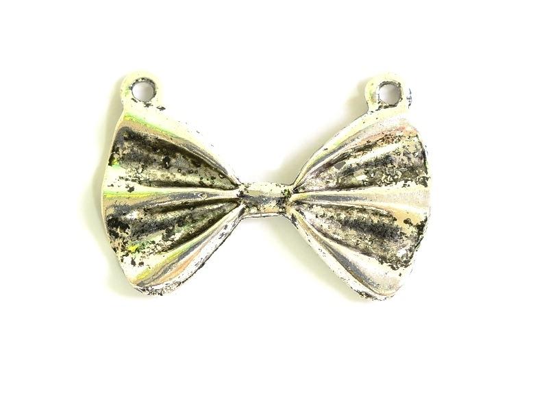 1 pendentif noeud papillon - argenté