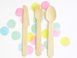 Customisable wooden cutlery: 1 fork, 1 knife and 1 spoon