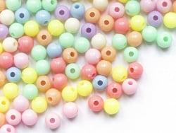 Acheter 100 perles en plastique rondes 6 mm - opaque pastelles - 0,69€ en ligne sur La Petite Epicerie - Loisirs créatifs