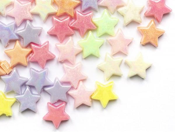 Acheter 50 perles en plastique - étoiles - pastelles nacrées - 14 mm - 2,29€ en ligne sur La Petite Epicerie - Loisirs créatifs