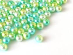 Acheter 100 perles en plastique rondes imitation perles de culture - 6 mm - dégradé vert d'eau - 1,99€ en ligne sur La Petit...