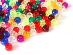 Acheter 100 perles en plastique basiques pour enfants - pony beads - transparentes multicolores - 1,99€ en ligne sur La Peti...
