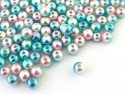 Acheter 100 perles en plastique rondes imitation perles de culture - 6 mm - dégradé bleu et rose - 1,99€ en ligne sur La Pet...