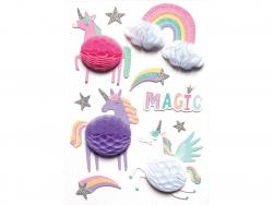 Acheter 10 stickers licornes - Effet 3D alvéoles - 3,99€ en ligne sur La Petite Epicerie - Loisirs créatifs