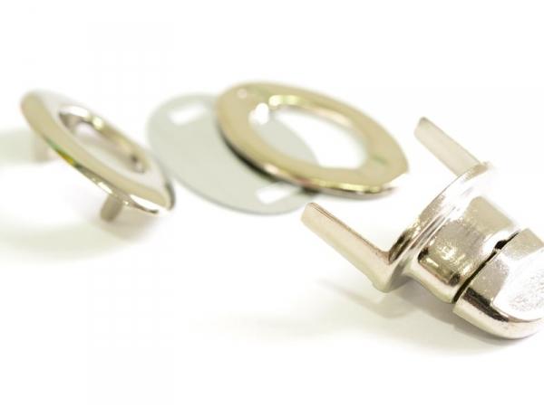 Oval bag fastener - silver-coloured