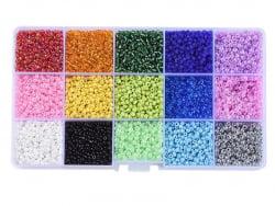 Acheter Boite de 15 couleurs de rocailles - 3mm - 9,99€ en ligne sur La Petite Epicerie - Loisirs créatifs